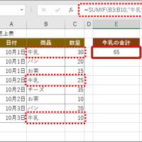 """○ Excel:SUMIF function..  【Excel】表から特定の項目だけを合計! 通常のSUM関数じゃできない""""条件付き計算""""ワザ"""
