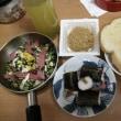 ある日のブランチ トースト、干瓢巻き、ニラ玉、納豆
