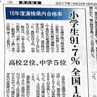 嬉しい、こんなニュース「日本漢字能力検定」小学生、日本一。
