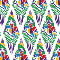 「パターン」南国の鳥2(テキスタイルデザイン)