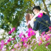秋のやさしい色に包まれて Engagement photo session from Hong Kong @能古島アイランドパークで結婚式前撮りロケーションフォト