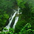 霧がかかった日光三名瀑のひとつ「霧降の滝」