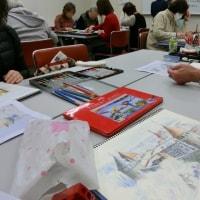 「水彩色鉛筆教室」2月後半は「エストニアの雪景色」