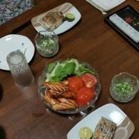 主人の実家で晩御飯。