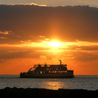 伊予灘のダルマ夕日は梅津寺海岸(12月06日)
