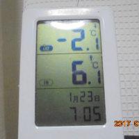 初雪 達磨 無理 外気温 2度マイナス だよ