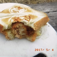 落合峠で鶏料理(寒かった)
