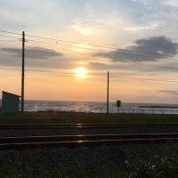 噴火湾に落ちる夕陽