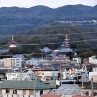 駐車場の屋上から見る「六甲山・甲山」
