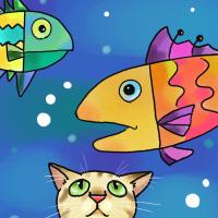 今日のお絵かき お魚と猫