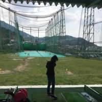孫姫とゴルフ練習