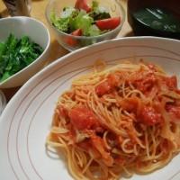 ツナ缶しめじトマトスパゲッティ