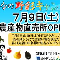 道の駅しなの 農産物直売所が7月9日(土)オープン!!