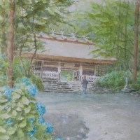 絵「あじさい寺」(完)