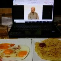 朝食のような夜食、ハッシュドポテトにハムエッグ