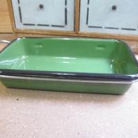 エナメル製グリーンカラーオーブンウェア