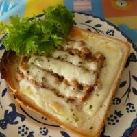 納豆のチーズトースト~粒マスタード風味