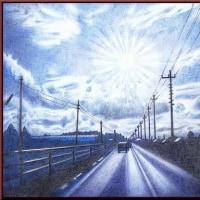 色鉛筆画315 (道路のある風景)