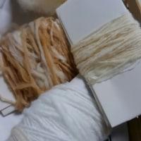 綿を手紡ぎ