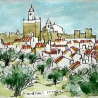 1011.アランドロアルの城と町とオリーブの木