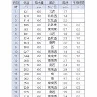 4月で29℃ 館林の気温  2017/04/16