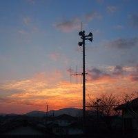 朝焼けの空。