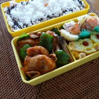 お弁当(鶏肉&ピーマンのピリ辛甘酢炒め)