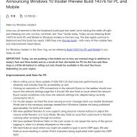 Windows10 Insider Preview 14376 が出ました。最近のバージョンアップ頻度は異常です。