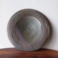 紅砂掛け流し丸皿