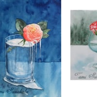 水彩・原画販売「薔薇の雫」「薔薇と木のオブジェ」
