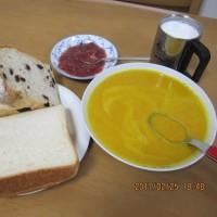 パンプキンスープとパン