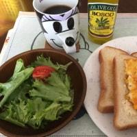 2/19(日)朝食(パン、サラダ、コーヒー)。