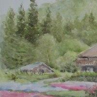 絵「芝桜と古民家」(旧作)