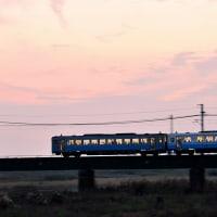 夕日と列車