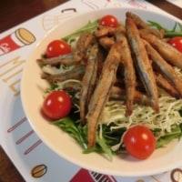 豚バラニラモヤシあんかけ&きびなご唐揚げ&シラスと水菜のドリア