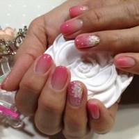 ローズピンク&ほんのりカラーグラデフラワー