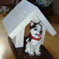 ハスキーのフィギュアー用犬小屋