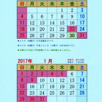 年末年始の休診日(2016年12月/2017年1月)
