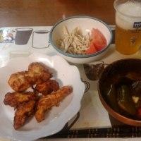 5月26日夕 鶏胸肉のから揚げ、茄子とピーマンの煮びたし、ゴボウサラダ