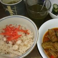 「今日のお昼ご飯」!!「タコ飯&ナスの炒め物」!!