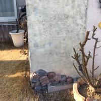 ポストの壁のモルタル造形 作業4日目
