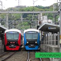 静岡鉄道はA3000形同士の離合 その2 (2017年4月23日 日吉町駅)