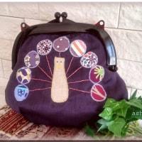 プラスチックがまぐちバッグ、紫の孔雀おじさん 完成~♪