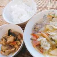 水餃子と鶏肉の味噌炒め