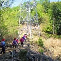4 二ヶ城山(483m:安佐北区)登山  最初の鉄塔に出合