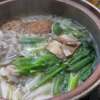 アサリのスープとサンマの甘酢揚げ(グルメシティ謹製)となべ