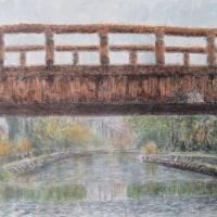 楽描き水彩画「近江八幡市の八幡堀で乗った和舟から見た橋」