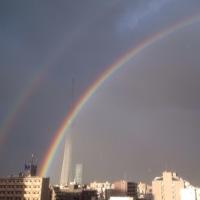 スカイツリーにかかる二重の虹