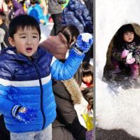 雪遊びは 楽しい (志摩市阿児町鵜方)
