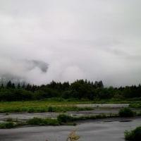 雲の中をノルディックウォーキングする